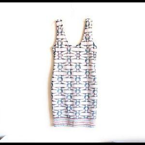 Bar III Sleeveless Dress XXL Geometric Lace Beige